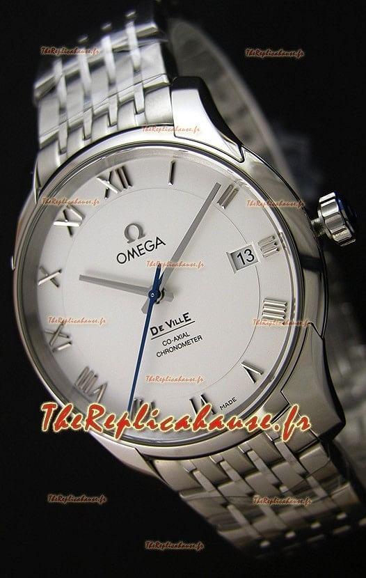 Omega De-Ville Annual Calendar Bracelet en acier Montre Réplique Suisse 1:1 Miroir Édition cadran blanc