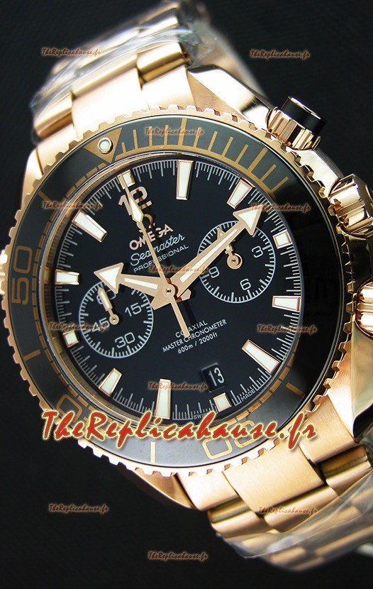 Omega Seamaster Planet Ocean 600M chronographe Montre Réplique 1:1 Miroir  Or Rose