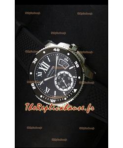 Montre Calibre de Cartier avec boîtier en acier et cadran noir 42mm - Réplique de montre miroir 1:1