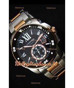 Montre Calibre de Cartier avec boîtier deux tons et cadran noir 42mm - Réplique de montre miroir 1:1