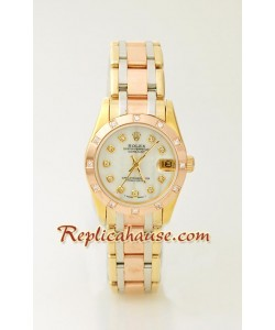 Rolex Replique DateJust - Three Tone MidSize Montre