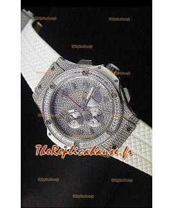 Montre Hublot Big Bang en acier inoxydable rose avec mouvement à quartz sur bracelet blanc