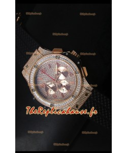 Montre Hublot Big Bang en or rose avec mouvement à quartz sur bracelet noir