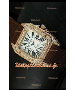 Cartier Santos 100 1:1 Réplique de montre miroir or rose et diamants 42mm