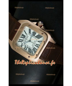 Cartier Santos 100 1:1 Réplique de montre miroir or rose 42mm
