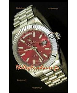 Réplique de montre suisse Rolex Day Date II 41MM - Cadran rouge - Réplique de montre miroir 1:1