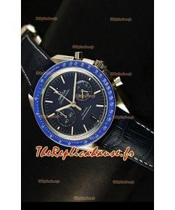 Réplique de montre coaxiale japonaise Omega Speedmaster Moon avec cadran bleu foncé