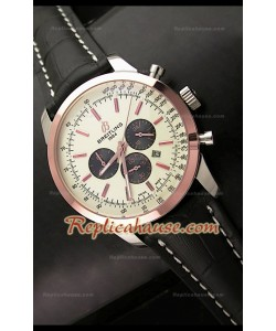 Breitling Transocean Japanese Quartz Montre en Or Rose