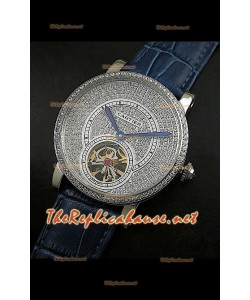 Cartier Calibre Tourbillon Montre avec Cadran de Diamants Bracelet Bleu