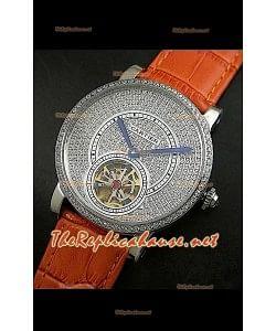 Cartier Calibre Tourbillon Montre avec Cadran de Diamants Bracelet Marron Clair