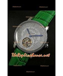Cartier Calibre Tourbillon Montre avec Cadran de Diamants Bracelet Vert