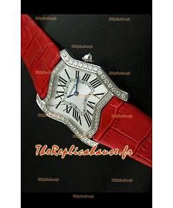 Cartier Tank Folle Reproduction Montre Pour Femme avec Boitier en Acier/Bracelet Rouge