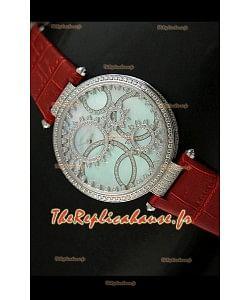 Cartier Reproduction Montre avec Lunette Cadran Incrustés de Diamants dans un Boitier en Acier/Bracelet Rouge