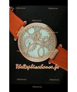 Cartier Reproduction Montre avec Lunette Cadran Incrustés de Diamants dans un Boitier en Or/Bracelet Orange