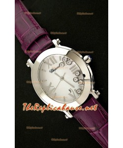 Chopard Happy Sport Femmes Montre Japonaise avec Bracelet en Cuir Violet
