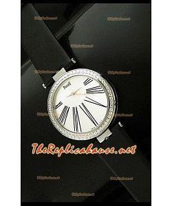 Piaget Altiplano Dial Time Swiss Quartz Montre avec Bracelet Cuir Noir