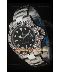 Rolex GMT Masters II Swiss Replica Montre en Acier avec Diamants