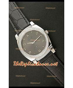 Rolex Cellini Japanese Quartz Replica Bracelet Cuir Noir Lunette de Diamants Face Noire