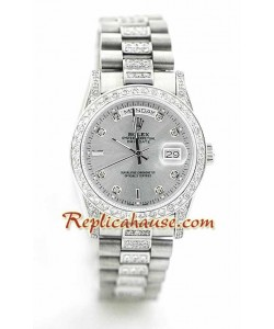 Rolex Replique Day Date Silver - Diamond