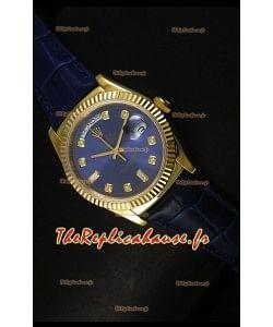 Réplique de montre suisse en or jaune Rolex Day Date 36MM - Cadran bleu foncé