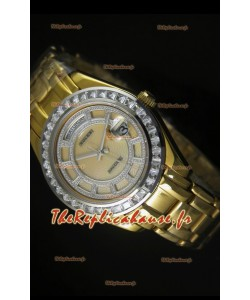 Montre suisse Day Date Rolex avec boîtier or rose