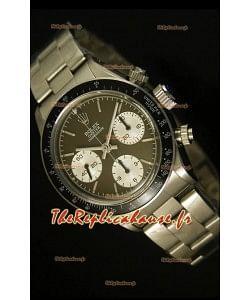 Cosmographe Rolex Daytona 6263 avec cadran couleur café et lunette noire