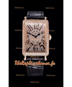 Franck Muller Long Island Color Dreams montre suisse en or rose pour les dames avec bracelet noir