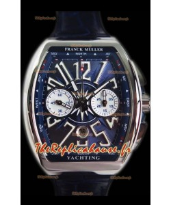 Franck Muller Vanguard montre suisse chronographe en acier 904L cadran bleu