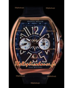 Franck Muller Vanguard montre suisse chronographe en or rose de 18 carats cadran bleu
