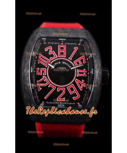 Franck Muller Vanguard montre suisse indexes rouges boîtier en carbone