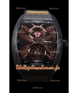 Franck Muller Vanguard Skeleton Tourbillon montre réplique suisse carbone noir
