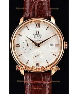 Omega Co-axial Prestige montre suisse en or rose avec fonction réserve de marche