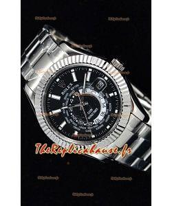 Rolex SkyDweller montre suisse avec boîtier en acier - cadran noir édition DIW