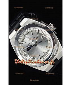 Vacheron Constantin Overseas Phase Lune montre suisse en acier inoxydable avec bracelet noir