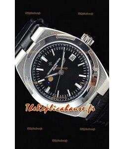 Vacheron Constantin Overseas Phase Lune montre suisse en acier inoxydable en cadran noir