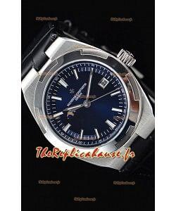 Vacheron Constantin Overseas Phase Lune montre suisse en acier inoxydable en cadran bleu