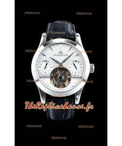 Jaeger LeCoultre Tourbillon perpétuel 904L Boîtier acier Cadran blanc Réplique de montre suisse