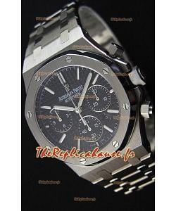 Montre Audemars Piguet Royal Oak Suisse à Chronographe avec Cadran Noir et un Bracelet en acier Réplique