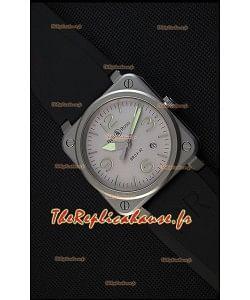 Montre Bell & RossBR03-92 Suisse Cadran gris Bracelet en caoutchouc Réplique à l'identique 1:1