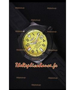 Breitling Avenger BlackAcier Revêtu en DLC Montre Réplique Suisse En cadran jaune