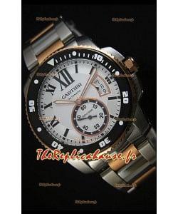 Calibre De Cartier 42mm, Cadran Noir-Boîtier deux Tons-Cadran Blanc-Montre Réplique Miroir 1:1