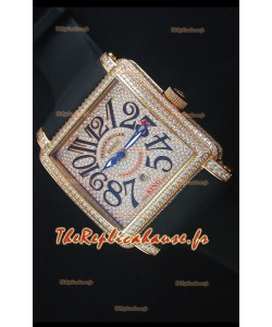 Franck Muller Conquistador King  montre automatique en Or Rose Avec bracelet de Nylon