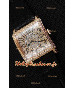 Montre Franck Muller Master of Square Ladies Montre dame en quartz réplique dans un boîtier en or rose