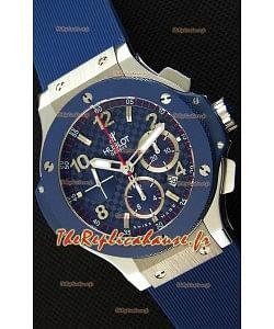 Montre Hublot Big Bang Blue Steel Cadran Noir Suisse Réplique à l'identique 1:1