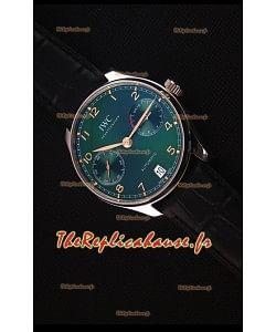 IWC Portugieser Suisse Version Actualisé - Montre Réplique Miroir 1:1- Cadran vert, Boîtier en Acier