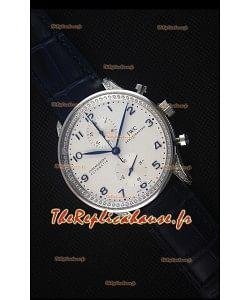 IWC Portuguese Chronograph - Cadran Blanc aux Diamants Montre Réplique Miroir 1:1