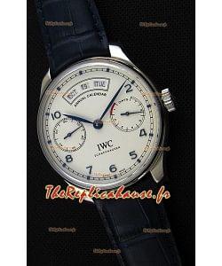IWC Big Pilot Annual Calendar Boîtier en acier Sangle Bleu IW503501 1:1 Miroir Réplique Suisse