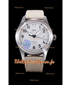 IWC Pilot's MARK XVIII Aviator 1:1 Swiss Watch in 904L Steel Case - Beige Nylon Strap