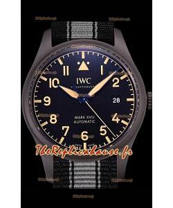 IWC Pilot's MARK XVIII Heritage 1:1 Montre suisse 904L Boîtier en acier Finition noire mate
