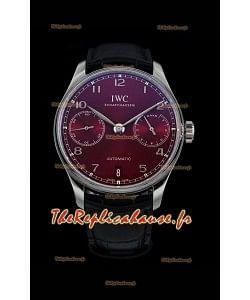 IWC Portugieser Swiss IW500714 1:1 Mirror 904L Montre en acier Montre à cadran bordeaux